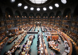 he Reading Room in the Bibliothèque Nationale de France (National Library of France), Paris.