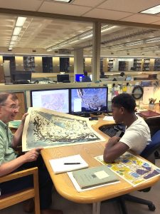 Eugene Famba with James Gillispie, GIS Librarian and Curator of Maps