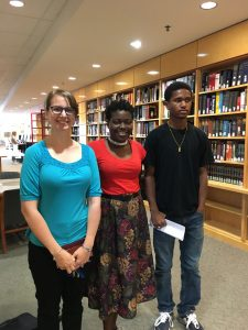 Triage Eaddy and Eugene Famba with Stephanie Gamle, Academic Liaison for Africana Studies, Anthropology, and History