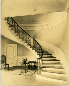A spiral staircase at Greenwood, which Fowler built for the Deford family in 1911. The building is now the main administration building for Baltimore County Public Schools.