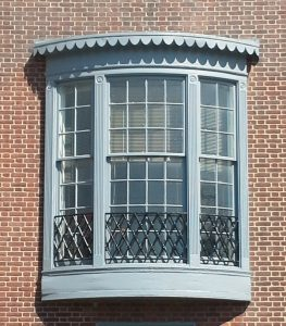 An ornate window at the Abel Wolman House.
