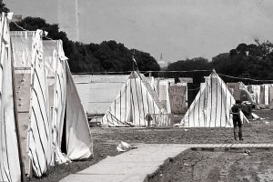 Image of a shantytown established in Washington, D. C. to protest economic conditions as a part of the Poor People's Campaign.