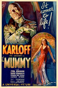 Film poster for the 1932 film The Mummy, Universal Pictures, attributed to Karoly Grosz.n Source: Los Angeles Public Library