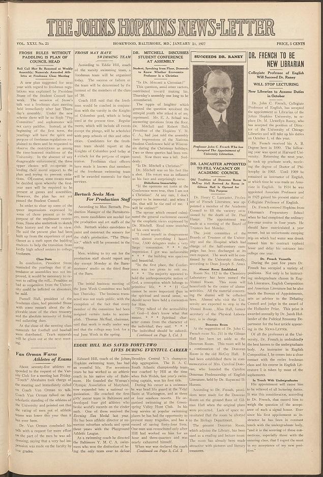 1927 Johns Hopkins Newsletter
