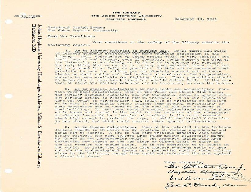Letter from university librarian John C. French