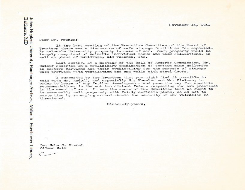 Mine galleries letter