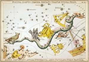Painting of Hydra and surrounding constellations, from Urania's Mirror (1824)