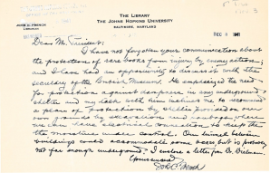 Letter from French to university president Bowman