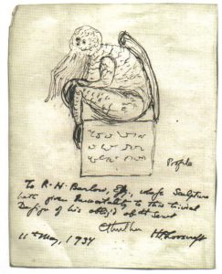 A sketch of a statuette depicting Cthulhu, drawn by his creator, H. P. Lovecraft, 1934. Resembles a human man with an octopus-like head.
