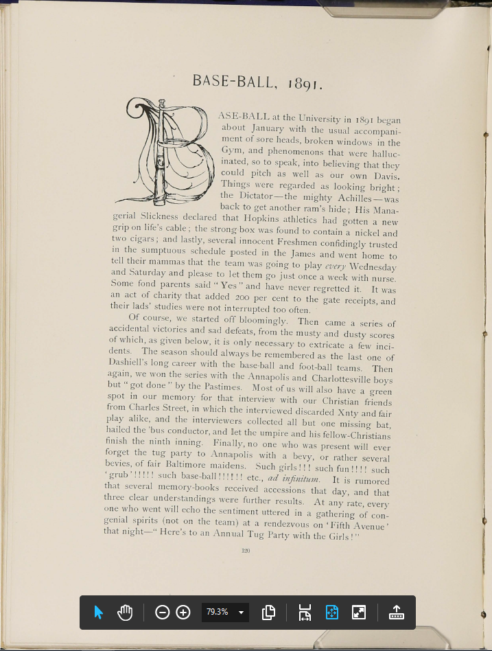 Hullabaloo 1892 yearbook. Johns Hopkins Sheridan Libraries Special Collections, Baltimore.