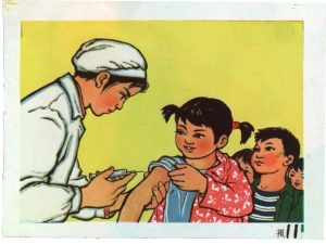 Slide depicting children lining up to receive vaccinations