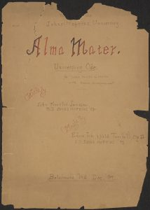 "A handwritten copy of Johns Hopkins University's school song ""Alma Mater"""