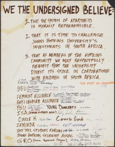 A petition from the mid-1980s urging the University to divest from South Africa