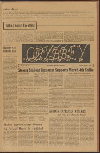 A page from the first and only publication of Odyssey, created by students in 1969