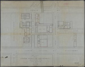 A map of Johns Hopkins University's original campus created in 1894