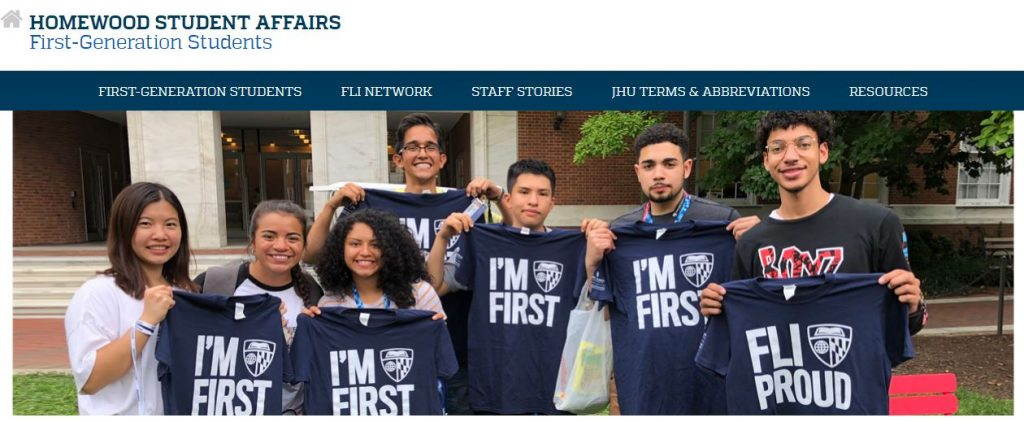 Website Image for Homewood Student Affairs, showing first-generation college students