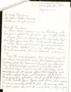 Scan of letter to Dr. Milton Eisenhower