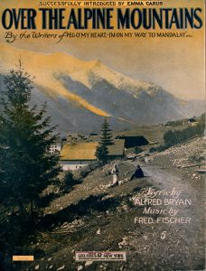 Sheet Music Cover depicting alpine mountain scene