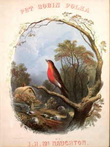 Sheet music cover depicting robin on a tree branch