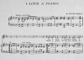 "Sheet music ""I Love A Piano"""