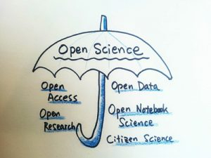 Drawing of Open Science umbrella