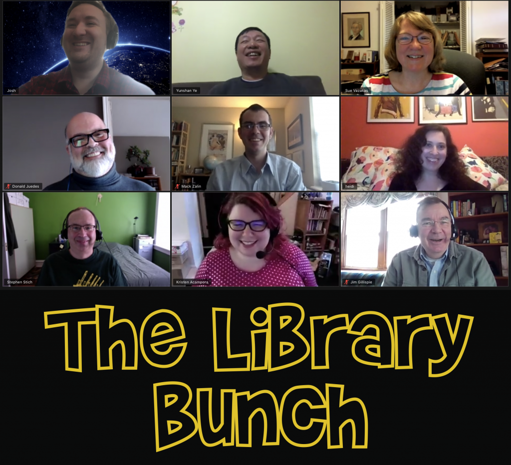 "Screen capture of MSE Librarian zoom meeting with ""The Library Bunch"" captioned beneath"