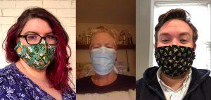 Selfies of Academic Liasons Kristen Acampora, Margaret Burri and Joshua Everett wearing face masks
