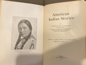 Frontispiece portrait of Zitkála-Šá, from the 1921 edition of American Indian Stories. From the Sheridan Libraries, Johns Hopkins University. Photograph by Anna Leoncio.
