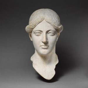"Roman, ""Marble head of a woman,"" 1st-2nd century CE. Available via Open Artstor: The Metropolitan Museum of Art"