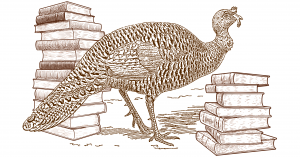 Etching-like illustration of a wild turkey surrounded by two large stacks of books