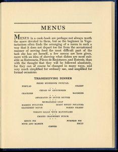 image of a Thanksgiving vegetarian menu.