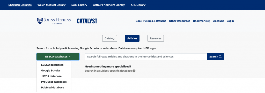 screenshot of new article search