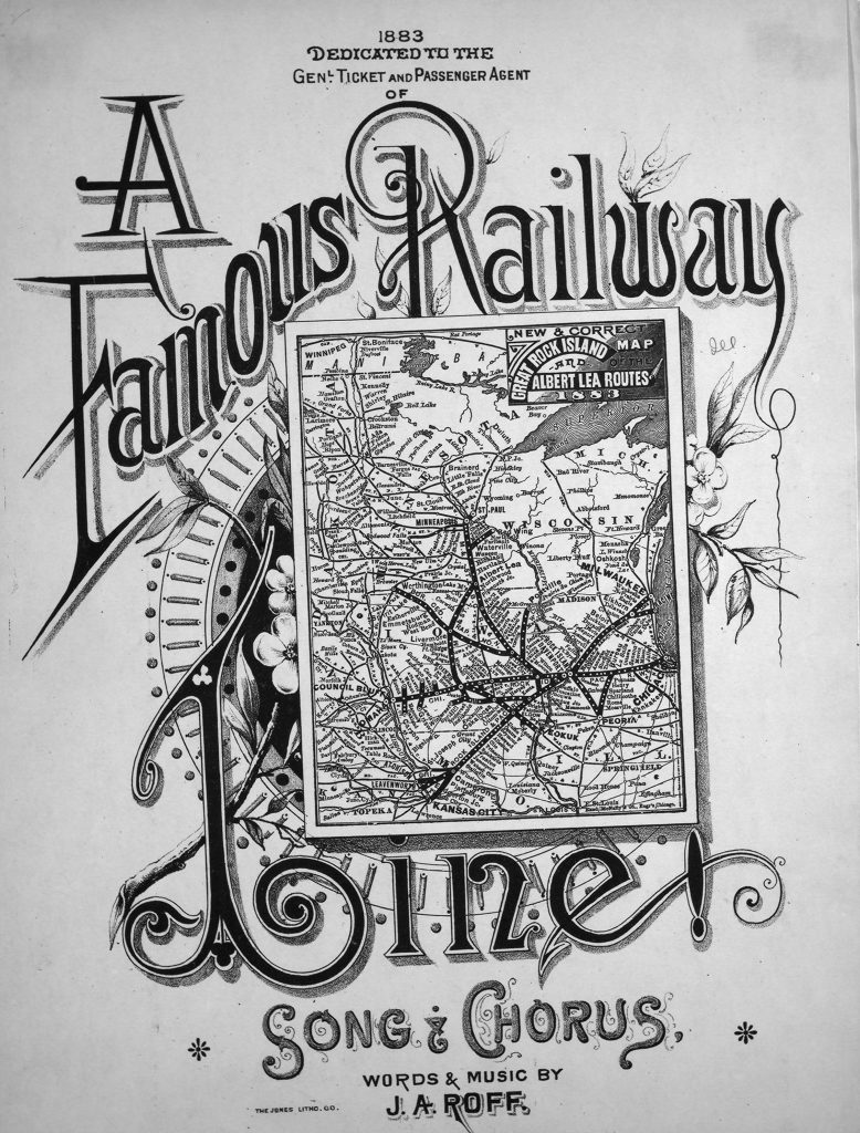Sheet music cover of A Famous Railway