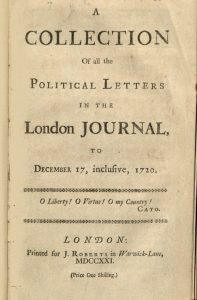 """Photograph of the title page of """"A Collection of all the Political Letters in the London Journal"""""""