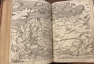 """Photograph of a hand drawn black and white map featured in the """"Nuremberg Chronicle"""""""