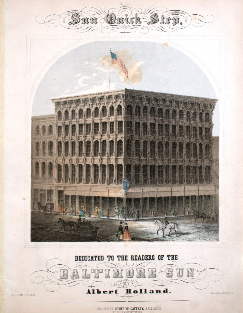 sheet music cover of Baltimore sun building