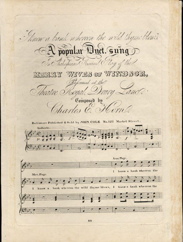 sheet music cover for Shakespeare duet