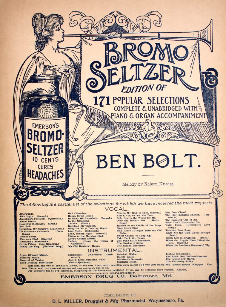 sheet music cover with medicine bottle