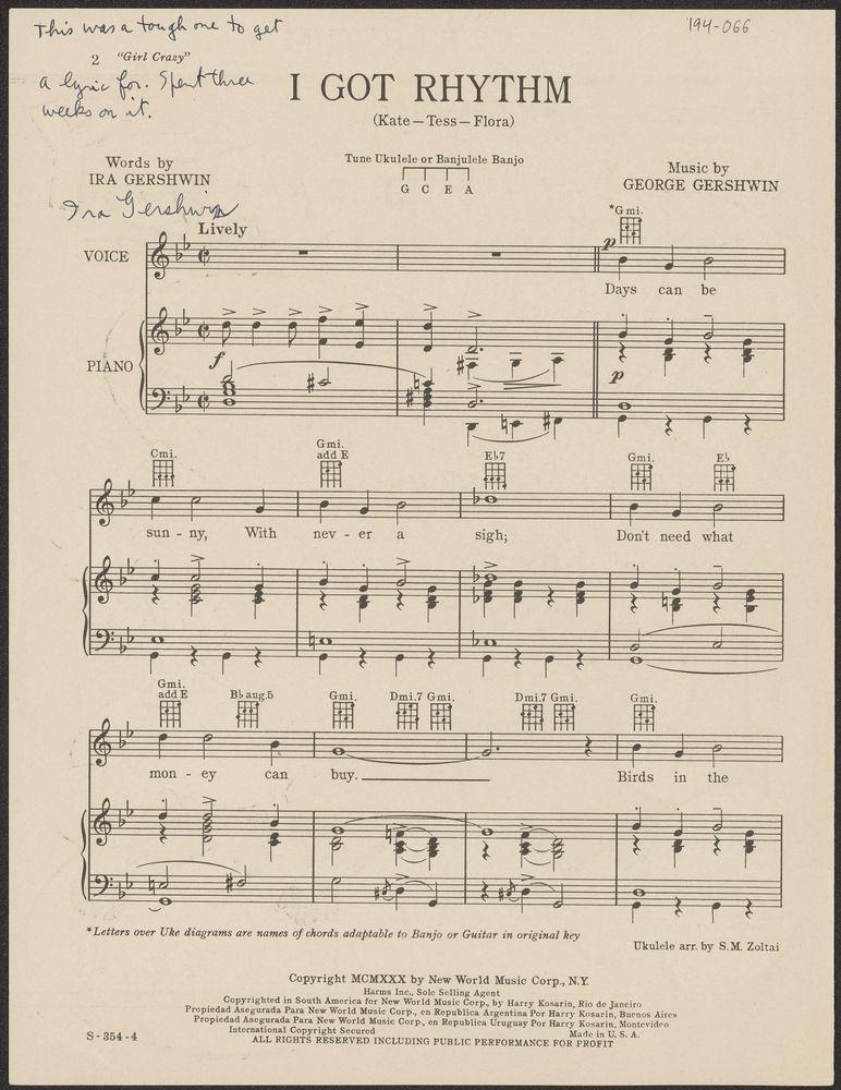 sheet music cover for I Got Rhythm